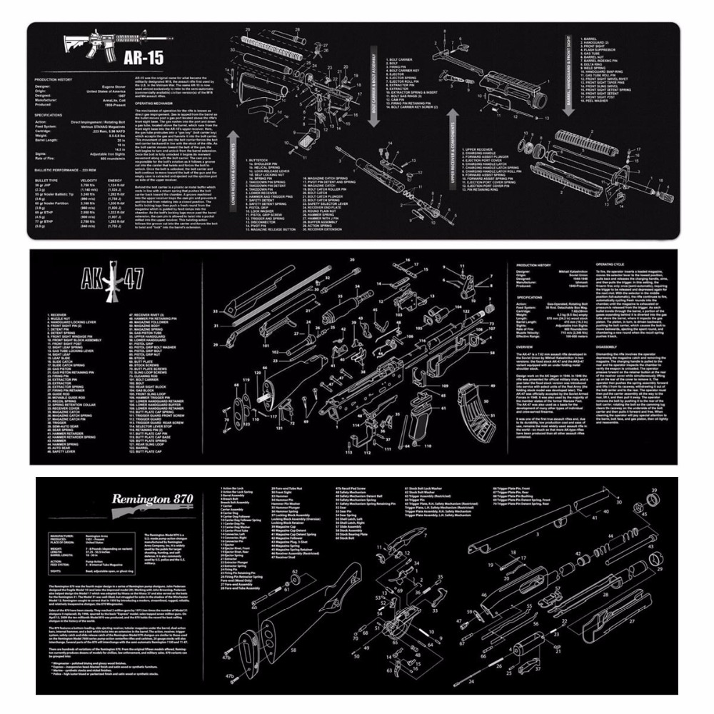 ar 15 ak47 870 gun cleaning rubber mat 36 x12 waterproof non slip cleaning mat with parts diagram instruction armorer bench mat [ 1000 x 1000 Pixel ]