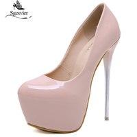 Sgesvier Autumn Sexy Pumps Wedding Women Fetish Shoes Concise Woman Pumps High Heel Stripper PU Pumps 16 cm Slip On Size 34 40