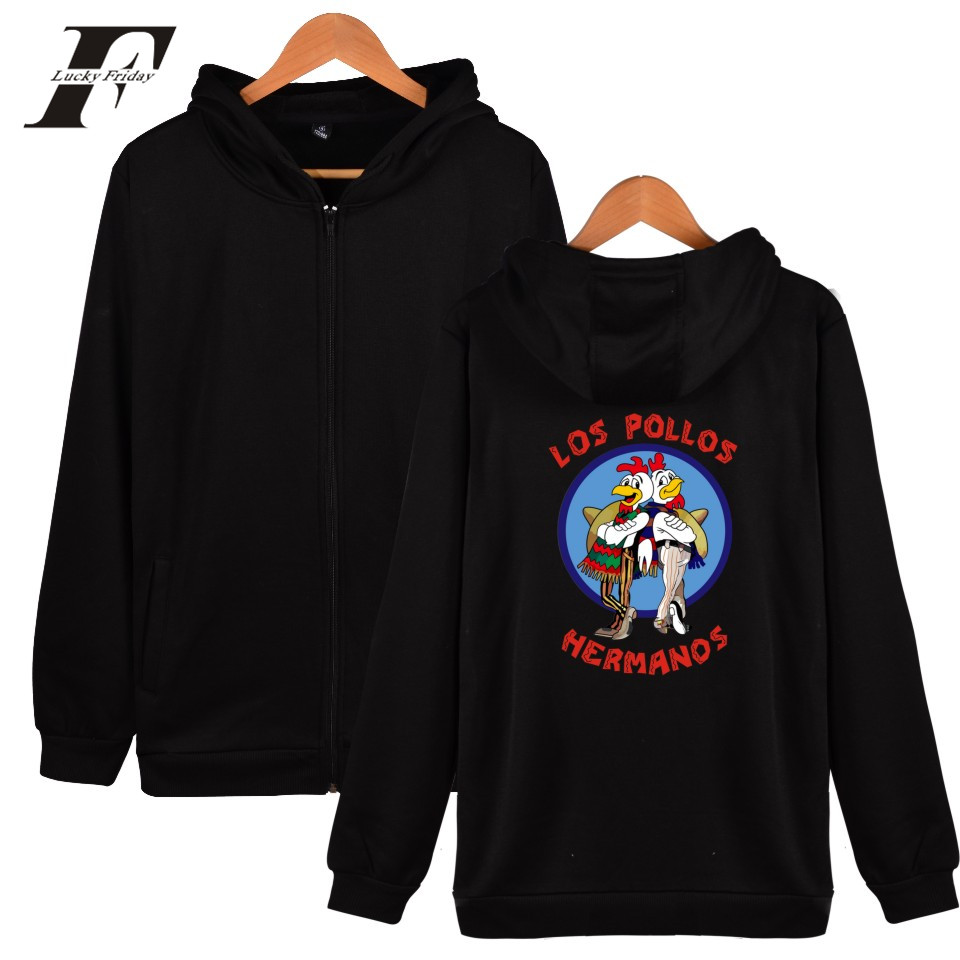 LUCKYFRIDAYF LOS POLLOS HERMANOS New Men Hooded Women Winter Popular Hiphop Hoodies Zipper Coat Sweatshirt Cotton Casual 2017