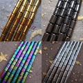 Hot wholesale 30pcs/lot 4x13mm Black Gold Rainbow Silver Hematite tube Loose Beads