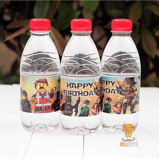 24pcs lego avengers batman iron man water bottle label candy bar decoration kids birthday party supplies baby shower aw0620