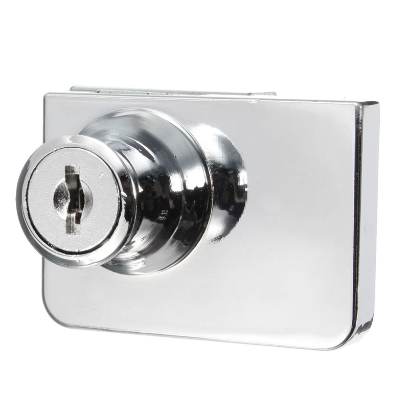1 set double glass cabinet door lock cam key showcase for Cam lock kitchen cabinets