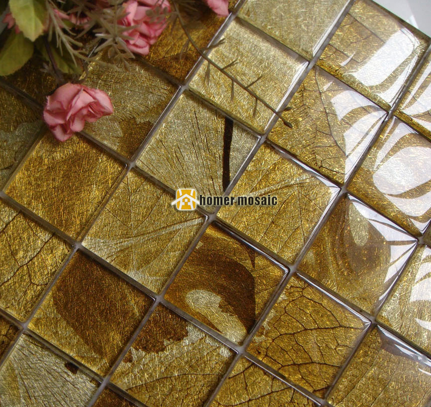 Leaf Glass Mosaic Tiles Ehgm1042 For Swimming Pool