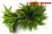 1KGS Rooster Feather 4 6inch Hand Select Wholesale Apple green Strung Rooster Saddle hackle Feathers