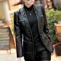 Высокое Качество 2016 Весна Осень Женщины Овчины Кожаные Куртки Лоскутное Однобортный V-образным Вырезом Тонкий PU Кожаные Куртки W468