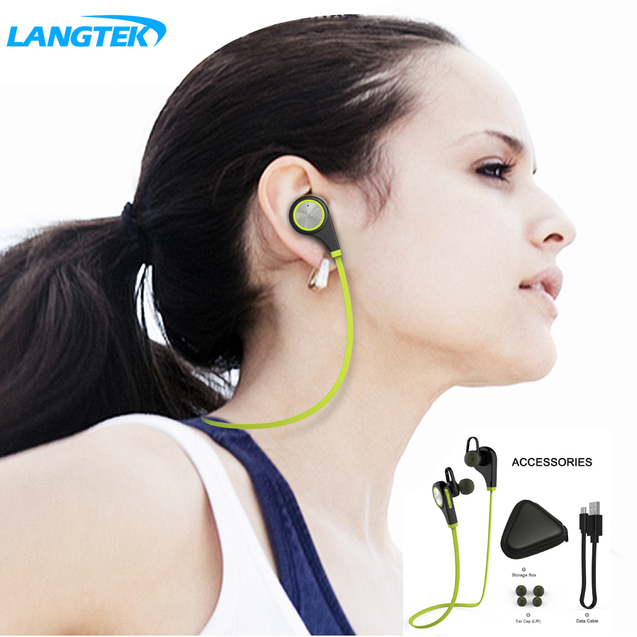 Langtek Bluetooth Earphone Wireless Sports Headphones  Headset Running Music Stereo Earbuds Handsfree with Mic for Smartphones q2 mini bluetooth headset stereo wireless earphone headphones music car driver headset stealth earbuds mic with charging socket