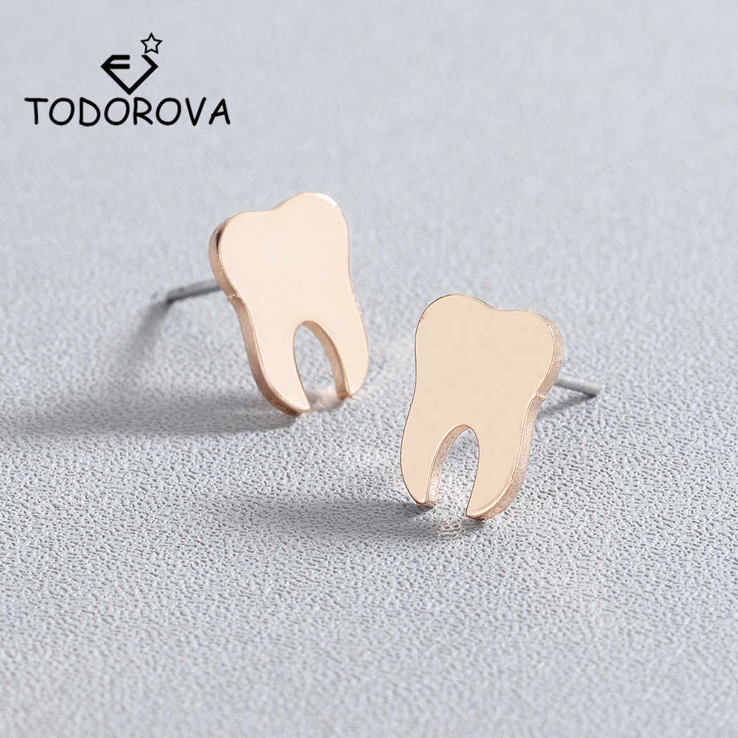 Todorova Dentist Tooth Stud Earrings for Women Men Doctor Nurse Minimalist Jewelry Small Earrings Medical Graduation Gift