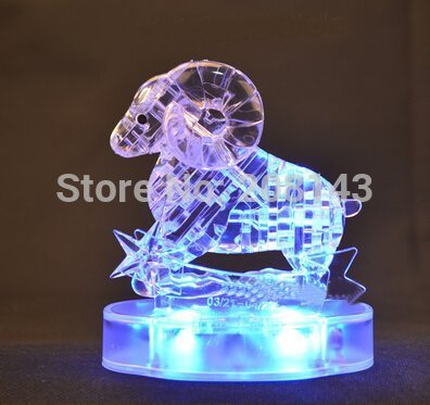 Horoscope Aries 34 Pieces 3D Crystal Puzzle Transparent Flashing Puzzle Toy Hot Selling