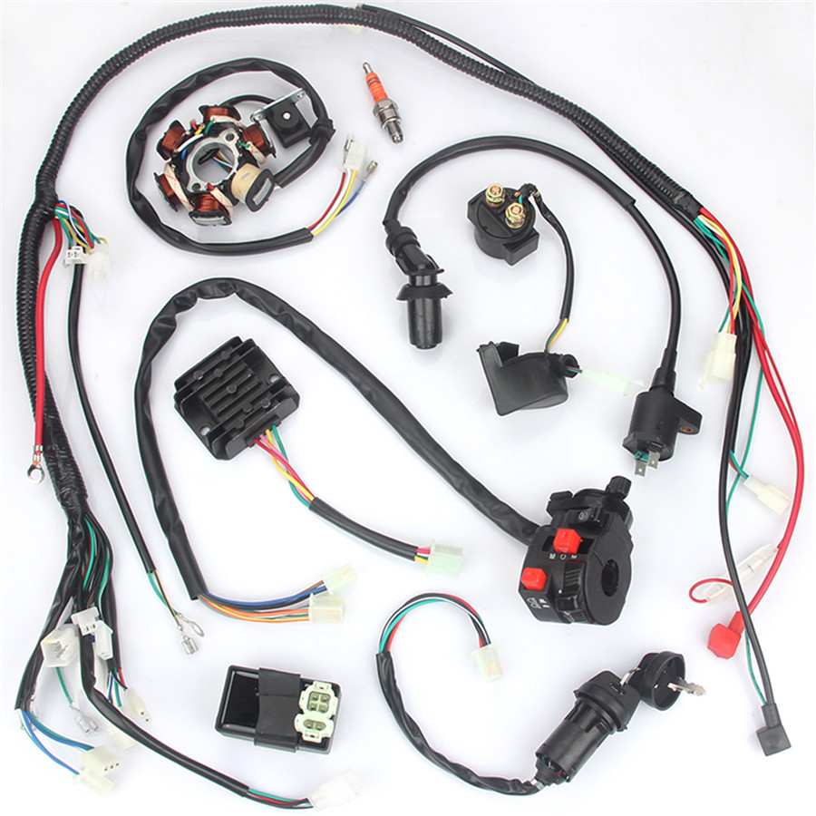 Motorcycle Wiring Harness kit Electrics Wire Loom Assembly For GY6 125cc 150cc ATV QUAD with 6