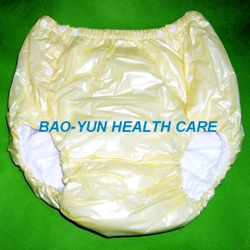Free Shipping FUUBUU2043-YELLOW-M PVC/ Adult Diaper/ Incontinence Pants/Adult Baby ABDL