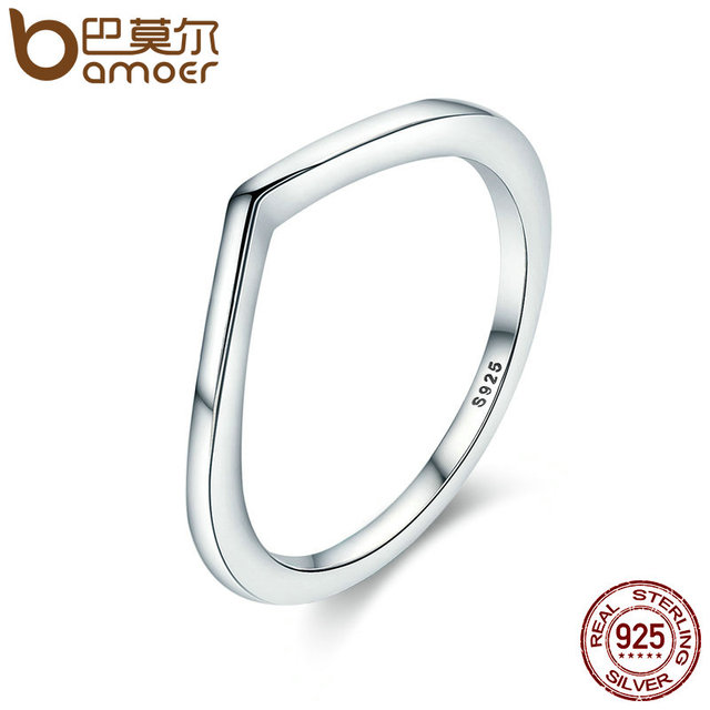 BAMOER 2018 New Authentic 925 Sterling Silver Shining Wish Female Ring Finger Ri
