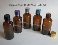 360 x 50ml Boston Round Glass Bottles with Aluminum Lids,5/3oz Brown Glass Essential Oil Container