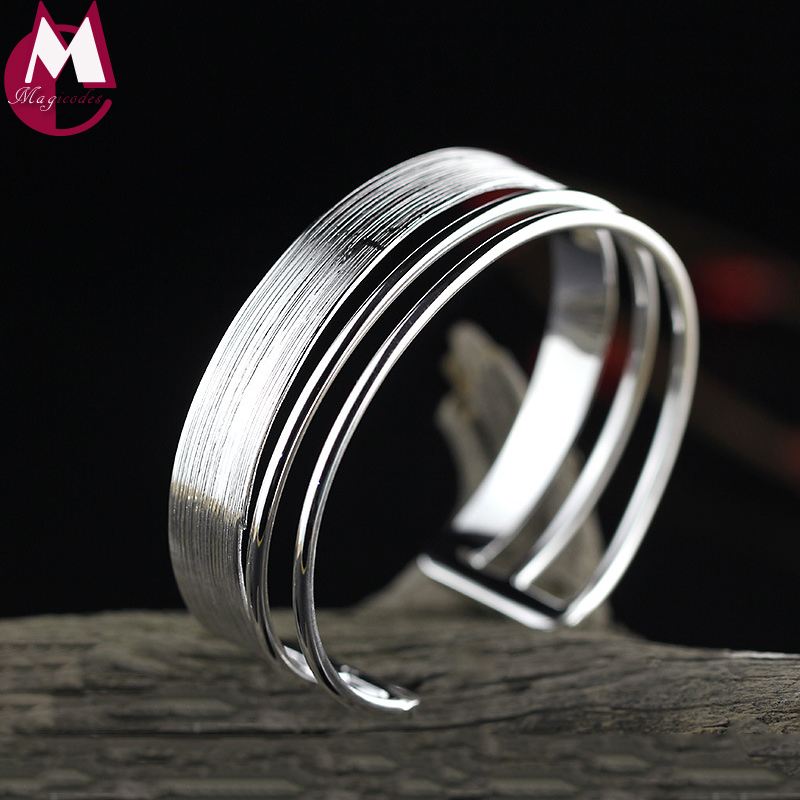 Open Brushed Big Round Cuff Wide Bangles for Women Classic Geometric Bracelets 100% 925 Sterling Silver New Punk Fine Jewelry все цены
