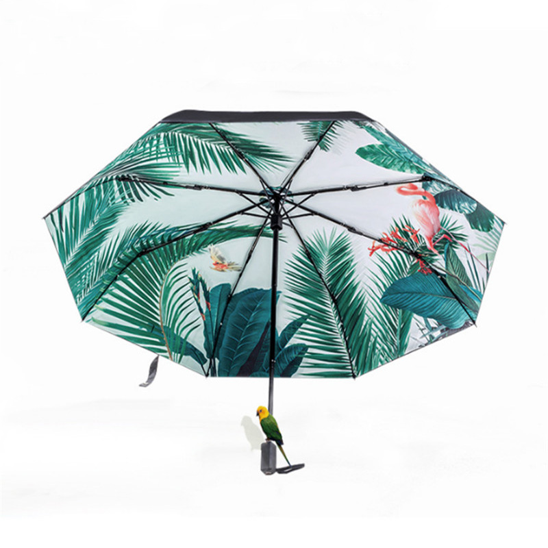 necessary women sunny rain umbrella tropical style flamingo parasol windproof anti uv folding. Black Bedroom Furniture Sets. Home Design Ideas