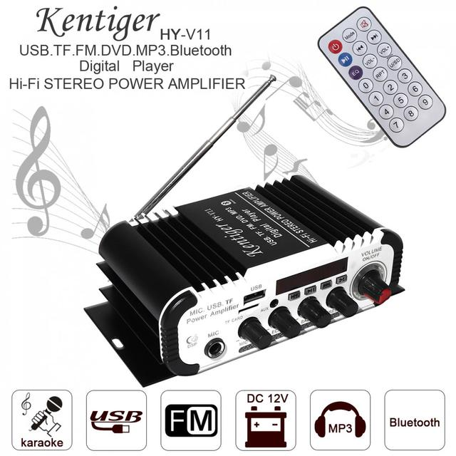 Special Price Kentiger V11 2CH Universal HI-FI Bluetooth Car Audio Power Amplifier DC12V 5A FM Radio Player Support SD USB DVD MP3 Input