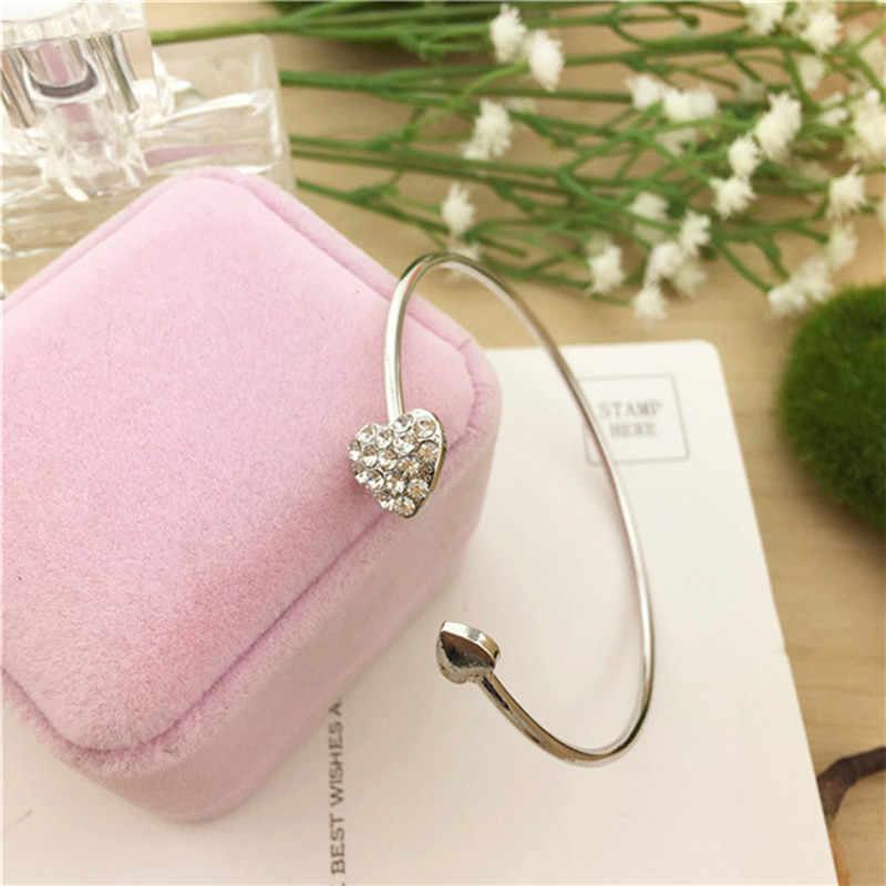 2018 hot sprzedaż moda regulowany podwójny brzoskwini serca kryształowe spinki do mankietów otwarcie bransoletka dla kobiet wykwintne bransoletka biżuteria hurtowych