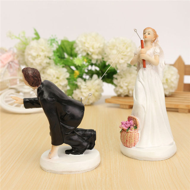 Online Shop KiWarm Modern Wedding Cake Toppers Fishing Bride and ...