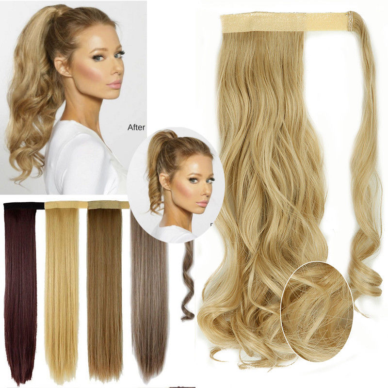 SNOILITE 17''23'' Long Silky Straight Ponytails Clip In Synthetic Pony Tail Fake Hair Extension wrap round hairpiece for women 3