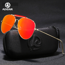 KDEAM Trendy Women Sunglasses Pilot Gold-tone Mirror Sun Glasses Men Top-bar Designer Eyewear With Case KD359