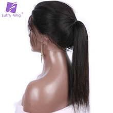 Luffy Light Yaki Straight Full Lace Human Hair Wigs For Black Women Pre Plucked Hairline Non Remy Brazilian Hair Natural Color