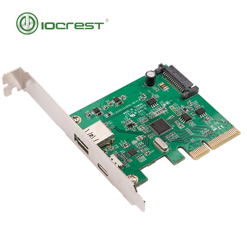 IOCREST PCI Express to USB3.1 USB-C+ USB3.1 Type-A host controller card up to USB3.1 Gen-II 10Gbps supper speed+ ASM3142 Chipset