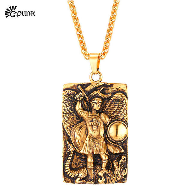 Mens saint michael pendant necklace christianity islam jewelry high mens saint michael pendant necklace christianity islam jewelry high polish 316l stainless pendant with chain gp2570 aloadofball Gallery