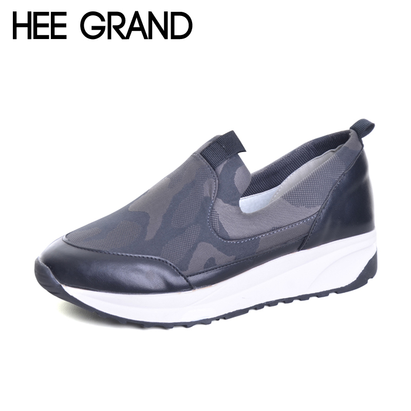 HEE GRAND Camouflage Creepers 2017 New Platform Shoes Woman Comfort Loafers Slip On Flats Casual Fahsion Women Shoes XWD5542 hee grand casual women s sandals 2017 silver creepers platform summer shoes woman flats pink casual women shoes xwz3886