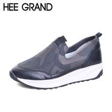Hee Grand/Камуфляж криперы Новинка 2017 года женская обувь на платформе удобные лоферы слипоны на плоской подошве Повседневная модная женская обувь XWD5542