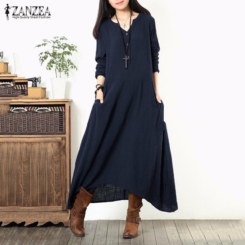 2a2127cc9b Vestidos 2016 Autumn ZANZEA Women Casual Loose Vintage Long Maxi Dress V  Neck Long Sleeve Asymmetrical Elegant Dress Plus Size