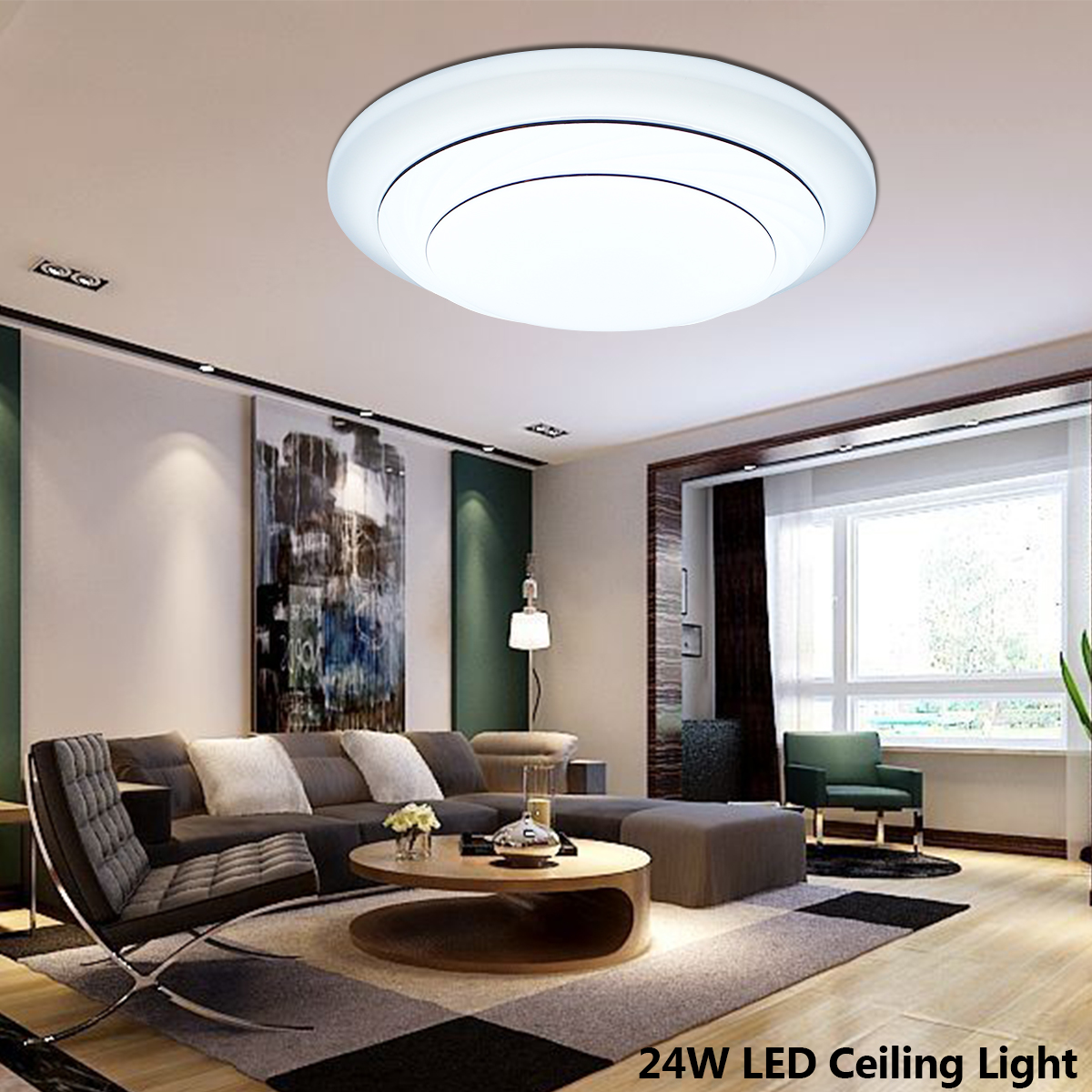 24w Led Dimmable Ceiling Light Round Flush Mounted Fixture: 24W Dimmable Modern Flush Mount LED Ceiling Lights Acrylic