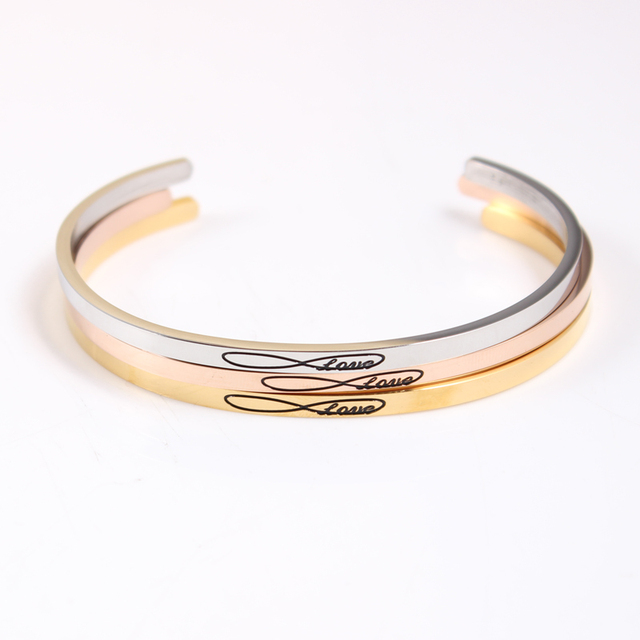 Top Quality Bitrhday Gift Stainless Steel Engraved Jewelry Cuff Bracelets Custom Engraving Infinity Love Message Bangle