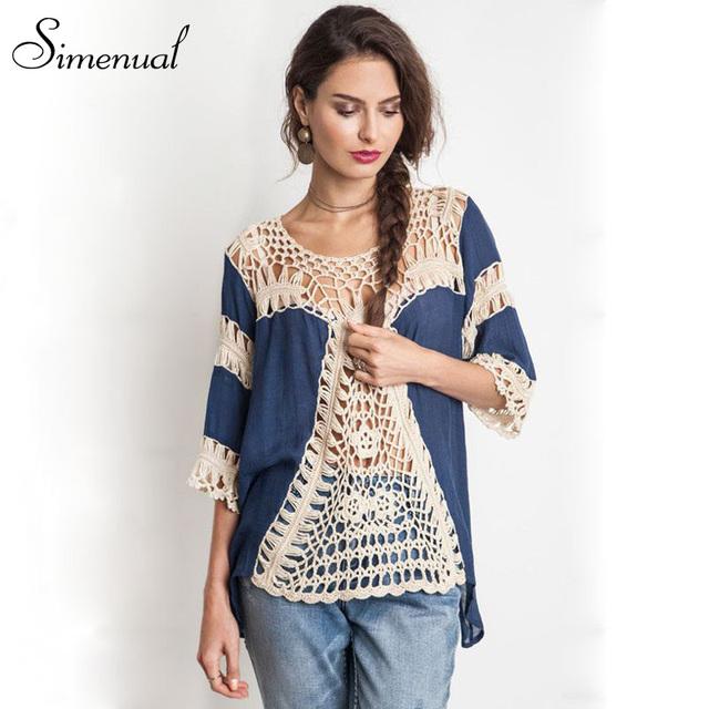 Mulheres artesanais de crochê blusas camisas do vintage 2016 verão venda quente sexy cover up praia oco out lace splice camisa tamanho grande novo