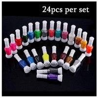 24 Colors Two Way Nail Art Polish Brush nail art Pen Varnish Polish Set 24pcs/Set Optional Stamping Nail Art color nail art pen