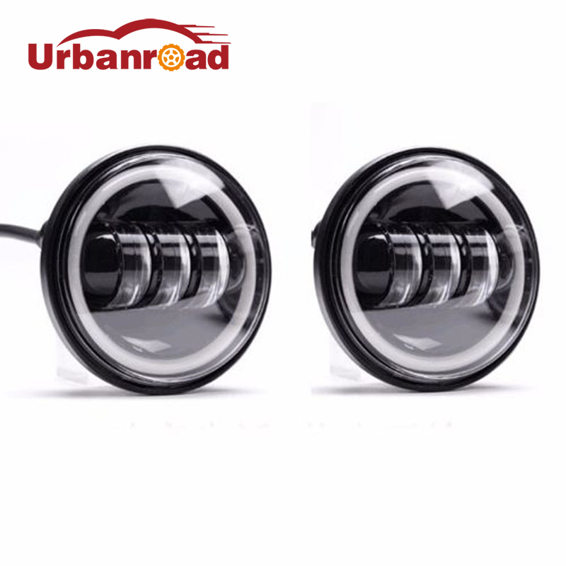 2PCS 30w 4.5 inch round fog light drl Angel Eyes passing lamps auxiliary motorcycle lights 4 1/2 fog Lamp For Harley motorbike led motorcycle fog lights chrome for harley 12v 4 5 inch fog lamp 4 1 2 30w passing drl waterproof motorbike black for harley