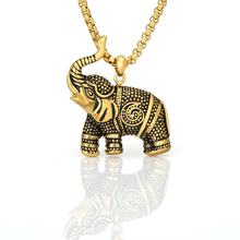 Fashion Elegant Necklace Animal Necklaces Elephant 3D Vintage Gold Chain Stainless Steel Jewelry
