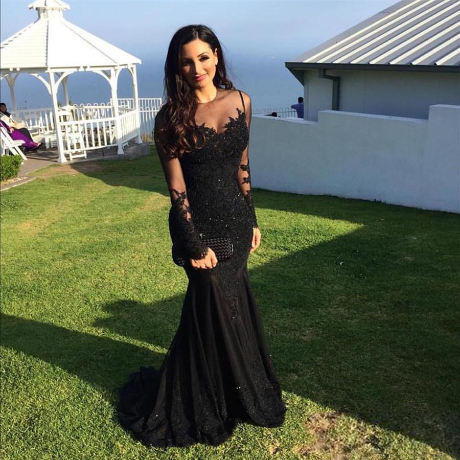 Scoop Neckline Long Sleeves Black Prom Dresses Memraid Plus Size Illusion Lace Applique Evening Gowns Formal