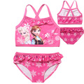 Summer Children Clothing Set Cartoon Anna Elsa Swimwear For Girls Pink Swimsuit Beachwear 2pcs Bikini Strapped Vest+briefs