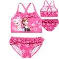 Verão Conjunto de Roupas Crianças Dos Desenhos Animados Anna Elsa Swimwear Para Meninas Rosa Maiô Beachwear 2 pcs Biquíni Amarrado Colete + cuecas