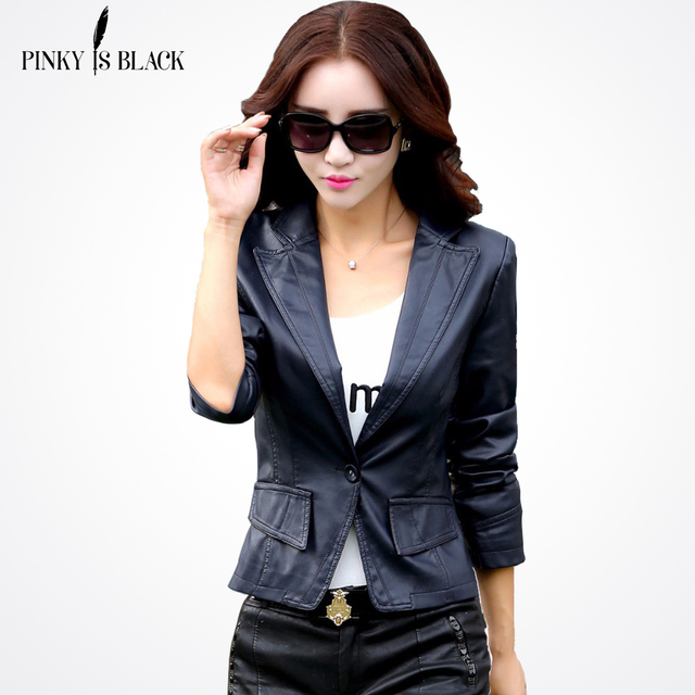 2016 spring leather jacket women's slim outerwear leather clothing female short design suit jacket casual women leather coat