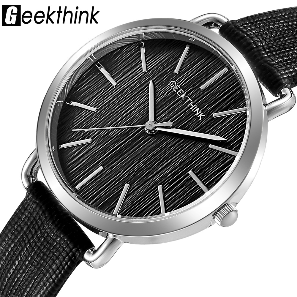 Geekthink Top Luxury brand Fashion Quartz Watches Women Silver Wristwatch Casual Leather Ladies Dress Clock Female New relogio