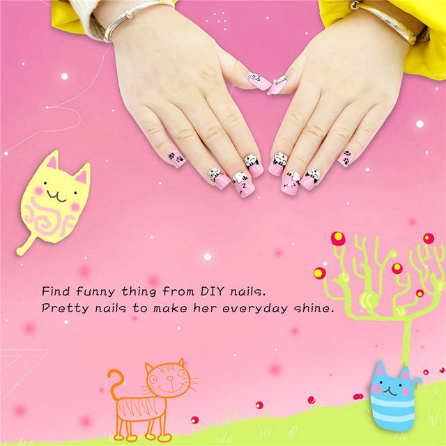 Online Shop 24pcs Press on Kids False Nail Tips Cartoon Cat Full ...