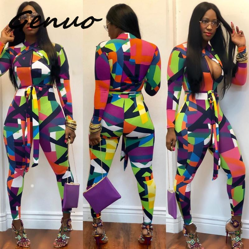 Geometric Print Sexy Rompers Womens Jumpsuit Long Sleeve Full Bodysuits Zipper Front Hollow Out Bodycon Bandage Jumpsuit Overall in Jumpsuits from Women 39 s Clothing