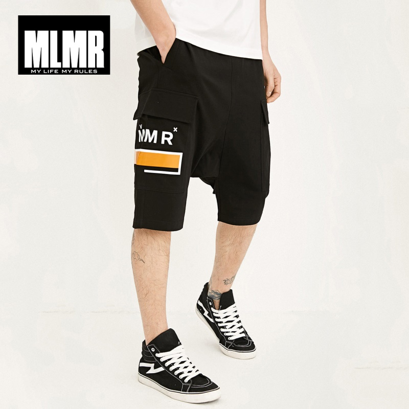 MLMR Men's 100% Cotton Letter Print Stretch Waistband Harem Shorts Top Menswear Short Pants | 218215532