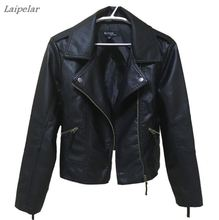 hot deal buy 2018 new spring and autumn women's leather jackets motorcycle women short paragraph lapel pu long-sleeved leather jackets coats