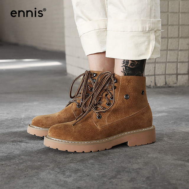 ENNIS 2018 Platform Boots Lace Up Ankle Martin Boots Women Genuine Leather  Boots Flat Heel Autumn Shoes Brown Gray Black A8162 50dc26eea