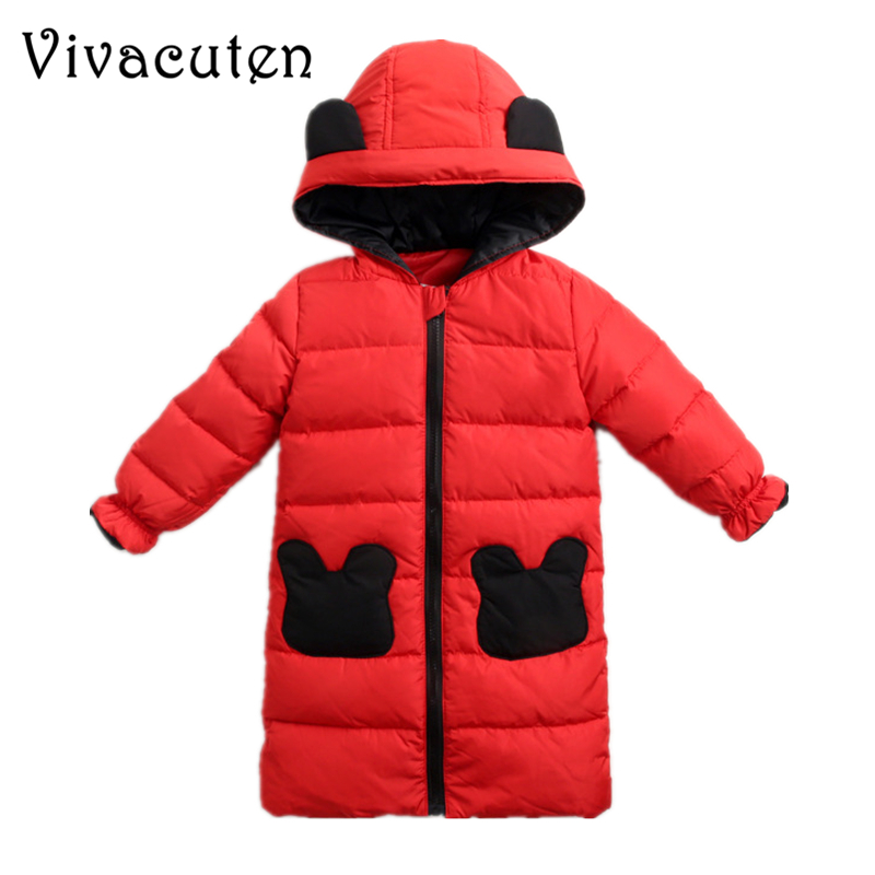 Baby Kids White Duck Down Jackets for Boys Girls Warm Hooded Outerwear Child Cartoon Ear Winter Coats Snowsuit Overcoat Clothes buenos ninos thick winter children jackets girls boys coats hooded raccoon fur collar kids outerwear duck down padded snowsuit