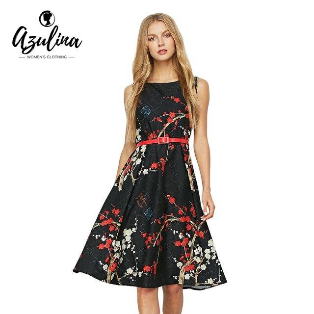 AZULINA Vintage Floral Print Sleeveless A Line Bohemian Women Dress 2017 Summer Black Flower Printed Female Vestido Boho Robe