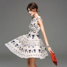 Runway dress new 2017 summer dress sleeveless embroidery brand women ladies womens summer dresses high end vestiti vestidos