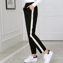 2018 Autumn And Winter Women Casual Sweatpants black White Striped Printed Side Pant Ladies Loose Trousers