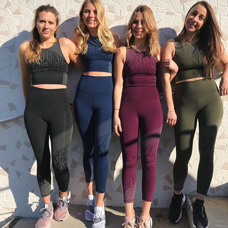 f11b6bba82 2 Pieces Set Women Yoga Sets Quick Dry Tracksuit Female Fitness Bra Elastic  Workout Leggings Gym Clothing Running Sports Suit